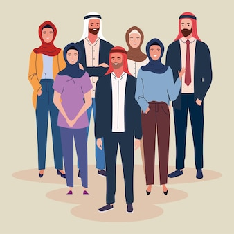 Mensen moslim dragen tulband en hijab