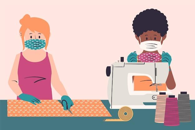 Mensen naaien medische maskers