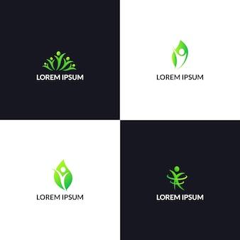 Mensen natuur gezondheidszorg logo sjabloon