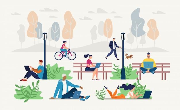 Mensen netwerking in stadspark platte vector concept