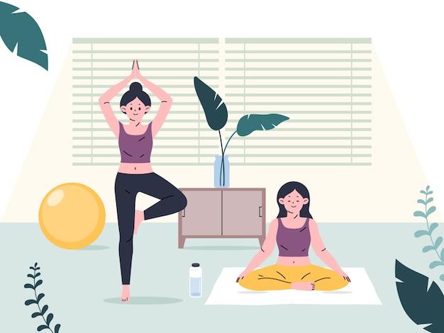 Mensen oefenen binnenshuis thuis. yoga en fitness, gezonde levensstijl.