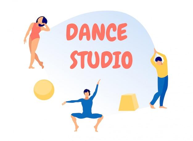 Mensen oefenen danstraining in studio,