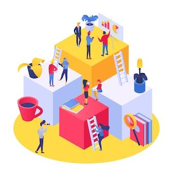 Mensen onderwijs concept met kleine mensen leren en trainen, boeken universiteit of studenten illustratie.