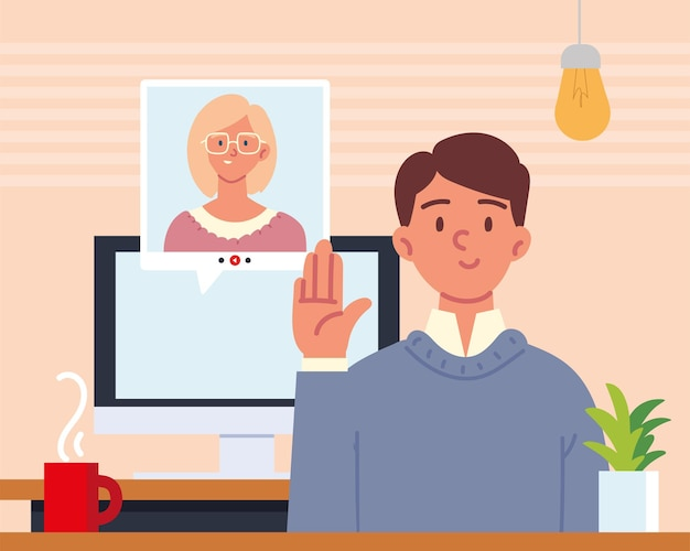 Mensen online interview met videogesprek