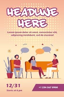 Mensen ontmoeten elkaar en praten, bespreken problemen, geven en krijgen een flyer-sjabloon voor ondersteuning