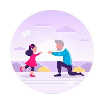Mensen ontmoeten elkaar na zelfisolatie met man en kind