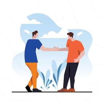Mensen ontmoeten elkaar na zelfisolatie