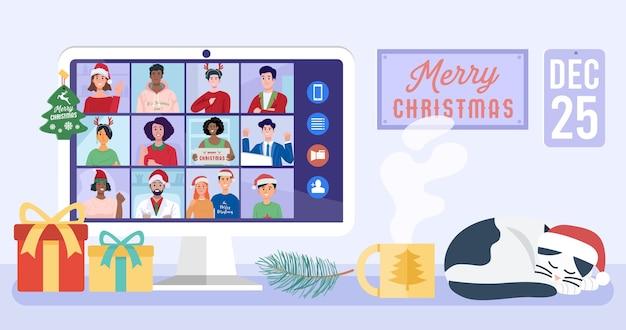 Mensen ontmoeten elkaar online via videoconferentie op een computer op kerstvakantie.