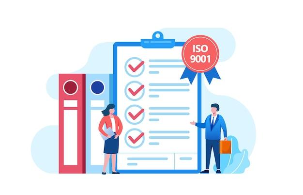 Mensen ontmoeten kwaliteitscontrole. certificaat iso 9001. kwaliteitsmanagement. platte vectorsjabloon