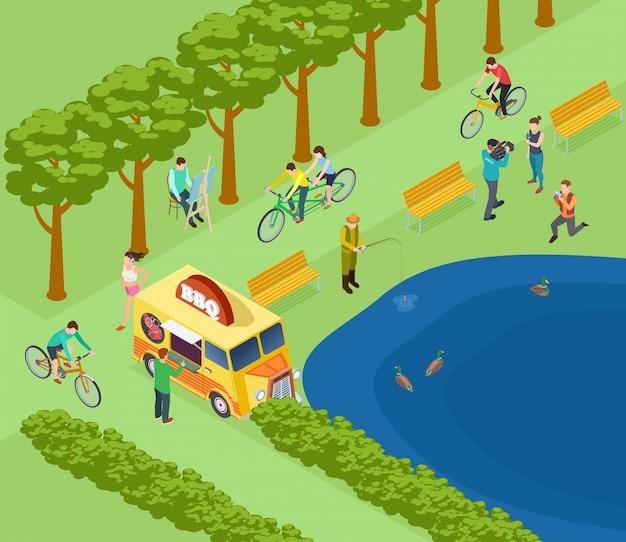 Mensen ontspannen in het park, fietsen, fotograferen en vissen, eten en joggen.