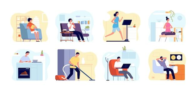 Mensen ontspannen thuis. man lees boek, appartementen interieurs met ontspannende personen. weekendtijd, thuis yoga meditatie, koken vector concept. thuisweekend, vrije tijd boek lezen of muziek luisteren illustratie