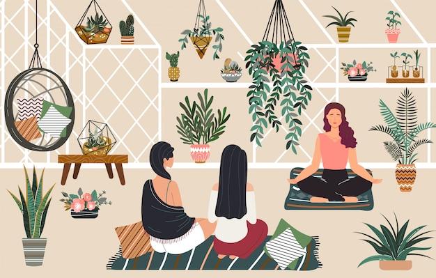 Mensen ontspannen yoga en meditatie in kas hygge huis, vrouwen siiting kamer met groene planten ontspannende illustratie.