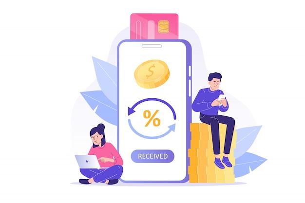Mensen ontvangen cashback van smartphone