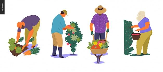 Mensen oogsten ingesteld