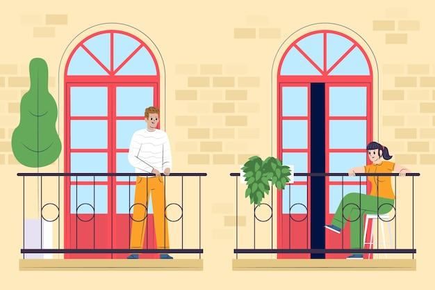 Mensen op balkons in quarantaine concept