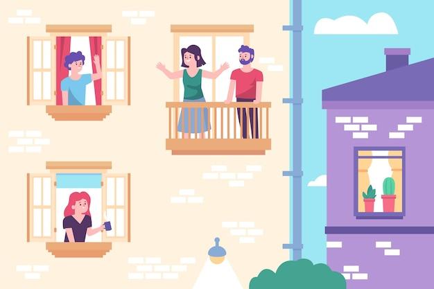 Mensen op balkons in quarantaine