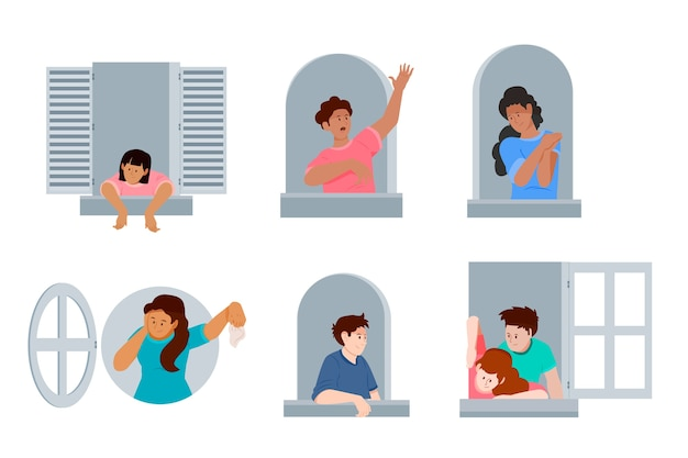 Mensen op balkons of ramen in quarantaine