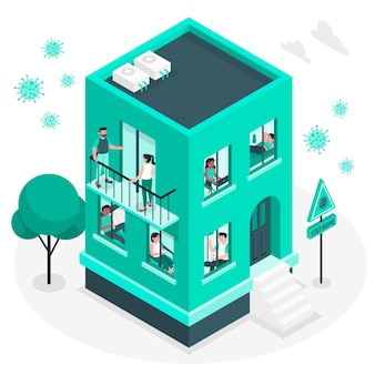 Mensen op balkons / ramen concept illustratie Gratis Vector