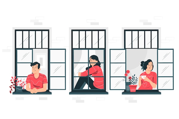 Mensen op balkons / ramen concept illustratie