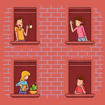Mensen op balkons voor quarantaine