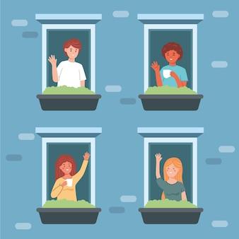 Mensen op balkons zwaaien naar elkaar