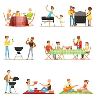Mensen op bbq picknick buiten eten en koken van gegrild vlees op elektrische barbecue grill set van scènes