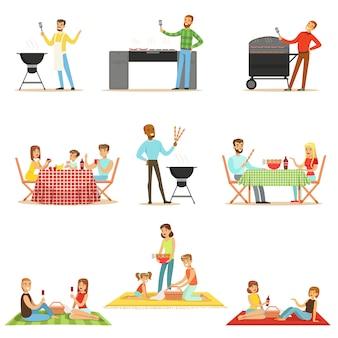 Mensen op bbq picknick buiten eten en koken van gegrild vlees op elektrische barbecue grill verzameling scènes