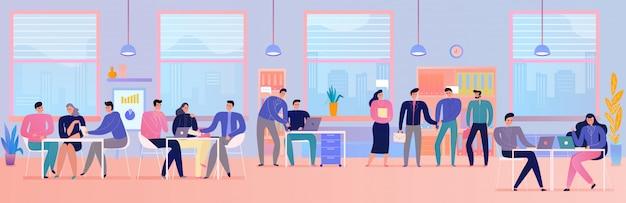 Mensen op commerciële vergadering in vlak horizontaal bureau