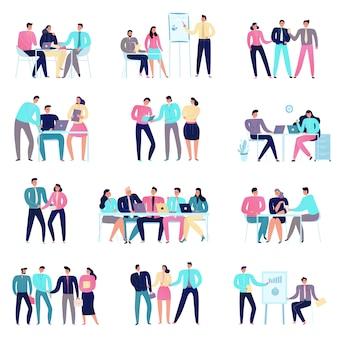 Mensen op commerciële vergadering vlakke kleurrijke pictogrammen geplaatst die op wit worden geïsoleerd
