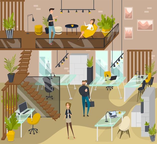 Mensen op creatief coworking gebied, moderne werkplaatsillustratie