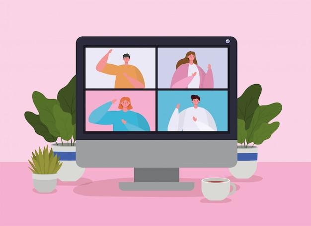 Mensen op de computer in videoconferentie