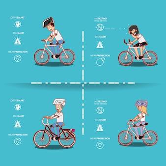 Mensen op de fiets rijden veilig campagne