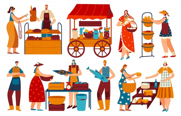 Mensen op de markt, kopen en verkopen van gezond lokaal voedsel, vectorillustratie
