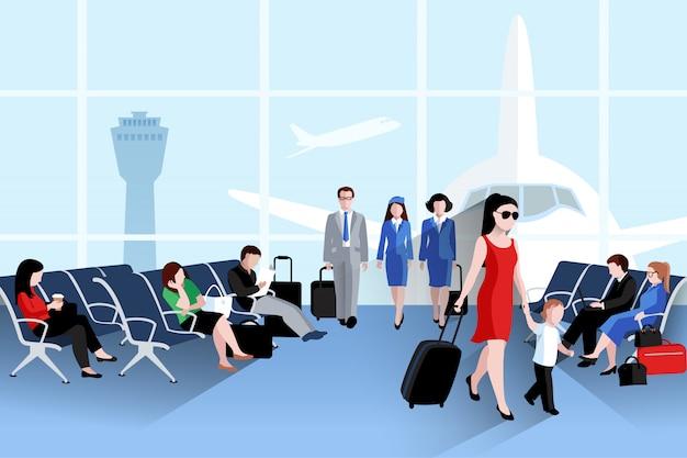 Mensen op de samenstelling van de luchthaven met vliegtuig raam en bagage