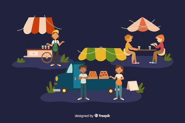 Mensen op een avondmarkt