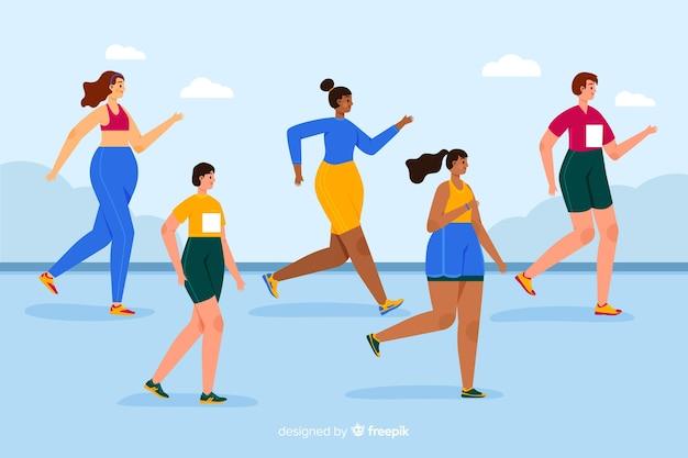 Mensen op een marathonrace