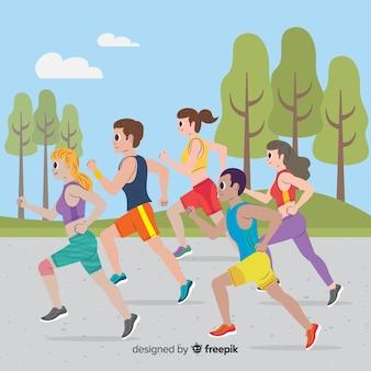 Mensen op een marathonrace Gratis Vector