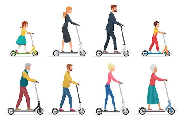Mensen op elektrische scooter instellen stripfiguren ecologisch schoon stadsvoertuig rijden