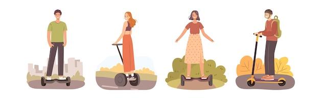 Mensen op elektrische transportset gelukkige meisjes en jongens die individuele stadsvoertuigen rijden