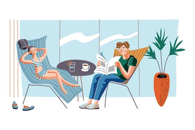 Mensen op fauteuils illustratie paar chillen in chaise longues thuis met koffie en cocktail