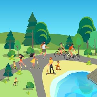 Mensen op fiets, rollers en scooter. plezier maken en sporten in het stadspark. zomer activiteit.