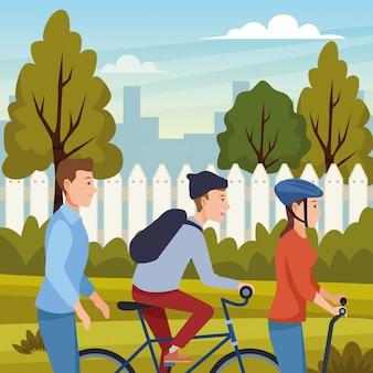 Mensen op fietsen en elektrische scooters