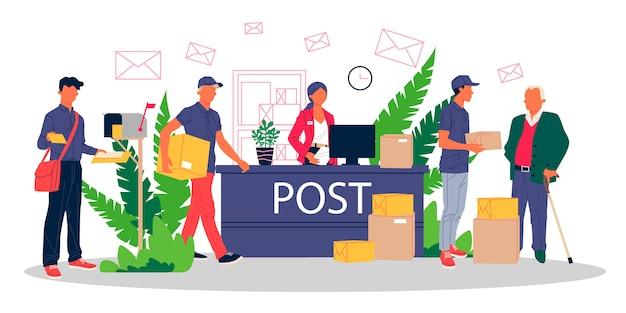 Mensen op het postkantoor ontvangen pakketten en mails