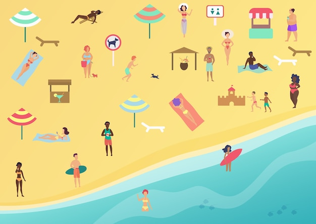 Mensen op het strand die ontspanning en ontspanning uitvoeren. zonnen, praten, surfen en zwemmen in zee of oceaan. strand bovenaanzicht plat.