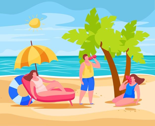 Mensen op het strand die oververhitting in de zomer voorkomen, zitten onder een paraplu die water drinkt met behulp van een chinese ventilator