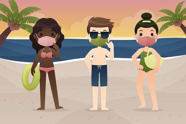 Mensen op het strand dragen gezichtsmaskers