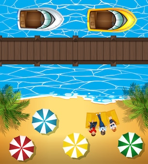 Mensen op het strand en boten in de zee