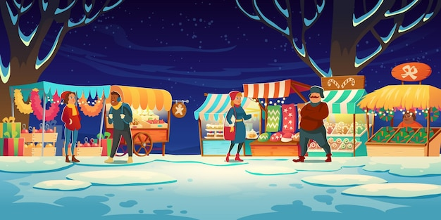 Mensen op kerstmarkt met marktkraampjes met snoepjes, kerstmutsen, cakes en peperkoek