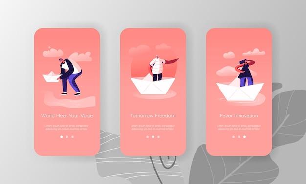 Mensen op papier ship mobile app page onboard screen set.