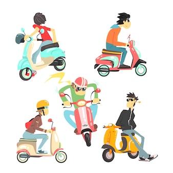 Mensen op scooters instellen